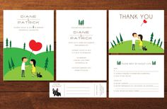 Illustrated Couple and Forest Scenery - Custom Printable DIY Invitation Wedding Invites Sets. $50.00, via Etsy.