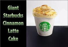 GIANT Starbucks Cinnamon Latte Cake - check it out here so you can make it yourself! http://youtu.be/AM3GV7uA9sg