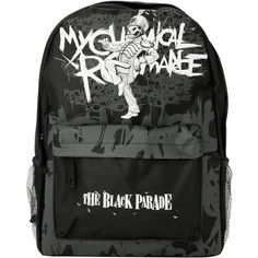 My Chemical Romance The Black Parade Backpack | Hot Topic ($21) found on Polyvore featuring bags, backpacks, accessories, pocket bag, black knapsack, rucksack bag, backpacks bags and black backpack