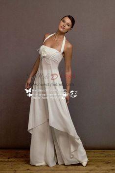 170cc52afbf2 White Chiffon jumpsuit dress for beach wedding - Wedding Pantsuits    Jumpsuits