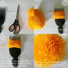 DIY yarn pompom #super easy