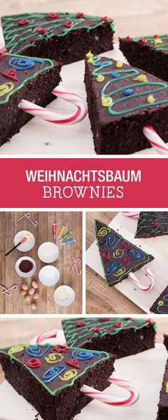 Weihnachtsbäckerei: verzierte Brownies als Weihnachtsbäume / christmas bakery: brownie christmas trees via DaWanda.com