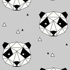 Panda - Gray fabric by kimsa on Spoonflower - custom fabric
