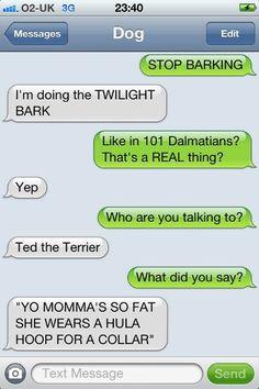 Texts from dog - twilight bark