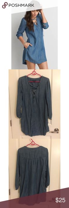 American Eagle Denim / Chambray Dress - Size S Chambray / Denim dress from American Eagle. Super cute / in style lace up detailing in the front. Very light / soft material. Size Small. Sorry, no trades! American Eagle Outfitters Dresses