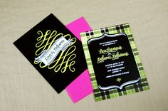 """Gay Wedding Invitations: """"Totes Rad Plaid"""" by Queer Getting Married. Color: Lemon-lime, also comes in raspberry, bluegrass, and indigo girl."""