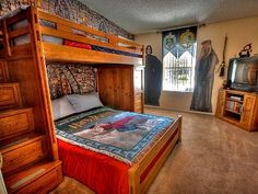 All ages will adore the Harry Potter Theme Room, bunk with twin and full bed