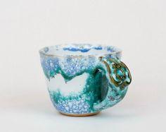 Handmade hand colored cup with green ornaments by PotterAsh #cup #mug #ceramic #etsy #tea #coffee #handmade #trend #art #gift #2016 #potterash #чашка #керамика #кофе #рукотворный #кружка
