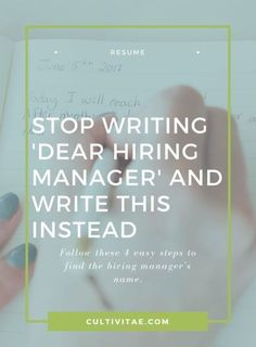 Cover Letter Tips - Stop Writing Dear Hiring Manager and Write This Instead - Easy Money Resume Advice, Resume Writing Tips, Resume Help, Job Resume, Career Advice, Resume Ideas, Resume 2017, Student Resume, Job Career