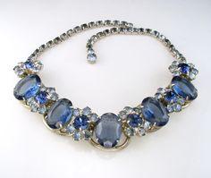D E Juliana Vintage Blue Rhinestone Necklace Small Repair | eBay