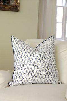 Jenny Steffens Hobick: Indigo Wood Block Print Napkins & Cushion Covers | Blue & White