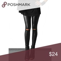 ⭐️pm_editor share⭐️HP⭐️ high waisted leggings Welcome to my boutique! 💐Cutout knee faux leather leggings. 92% polyester and 8% spandex. This item is very fitted at the waist. I have one Small left! The small fits more like a 00-0. Please comment with any questions. NWOT❣️PRICE FIRM, unless bundled!❣️❌NO TRADES❌ Fashionomics Pants Leggings