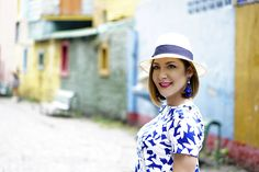 Blame it on Mei Miami Fashion Travel Blogger 2017 Buenos Aires Argentina Summer Travel Look Casual Outfit Panama Hat Floral Shift from Shein Dress Tassel Earrings Caminito Neighborhood