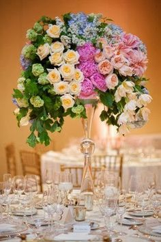 Clear Glass, Peonies, Roses, Garden Roses, Hydrangeas, Dahlias, Tall Centerpieces, Lush Floral Arrangement