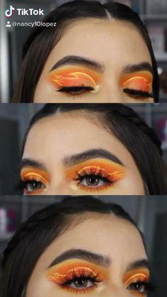 Enjoy this mini vidoe Eye Makeup Steps, Eye Makeup Art, Eyeshadow Makeup, Yellow Makeup, Colorful Eye Makeup, Cool Makeup Looks, Crazy Makeup, Disney Eye Makeup, Fire Makeup