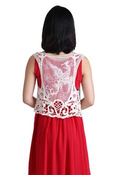 White Phoenix Crochet Vest. Free 3-7 days expedited shipping to U.S. Free first class word wide shipping. Customer service: help@moooh.neta