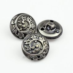 12PCS Antique Silver Flower Carving Round Shank Metal Sewing Buttons 18mm/28L | eBay
