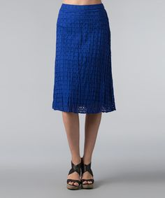 Look what I found on #zulily! Royal Blue Eyelet A-Line Skirt - Women by Vasna #zulilyfinds