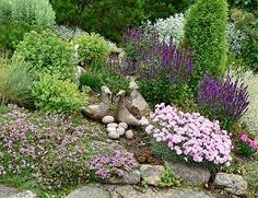 Landscaping on a slope - My Gramma had a beautiful rock garden on her slope. I loved just sitting in it on a smooth gray rock looking at everything growing. | gardenpins.comgardenpins.com