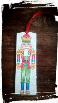 Christmas bookmark,Wooden bookmark,Nutcracker bookmark,Christmas gift for book lovers,Hand decorated bookmark,Vintage book mark, by MagdalenaMagic on Etsy