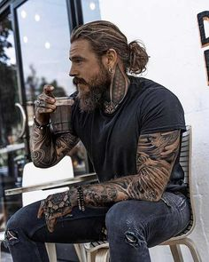 Image may contain: one or more people, people sitting and beard Sexy Tattooed Men, Bearded Tattooed Men, Handsome Bearded Men, Hair And Beard Styles, Long Hair Styles, Long Beard Styles, Beard Styles For Men, Man Illustration, Look Man