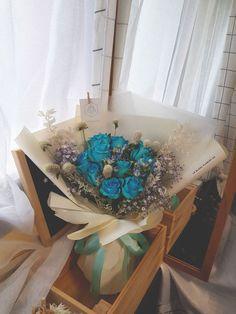 Blue Romance Bouquet Blue Roses, Fresh Flowers, Hanukkah, Bouquet, Romance, Wreaths, Decor, Romance Film, Romances