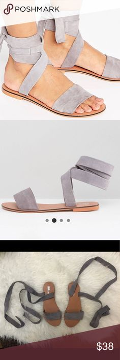 ASOS Famous Leather Tie Leg Sandals These SOLD OUT ASOS Suede Sandals are adorable and unique.  The quality is amazing!!!  100% real leather upper in a gorgeous Lilac color.  Worn once and in great condition! *Shop my closet for discounts on bundles* ASOS Shoes Sandals