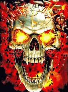 Skull on fire Ghost Rider Wallpaper, Skull Wallpaper, Skull Fire, Grim Reaper Art, Badass Skulls, Skeleton Drawings, Skull Stencil, Totenkopf Tattoos, Garage Art