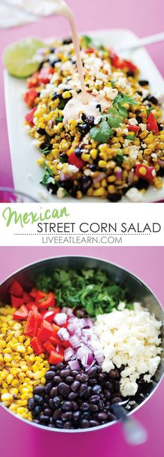 This Mexican Street Corn Salad recipe is a healthy version of the classic street vendor style elote, a grilled corn on the cob rolled in cotija cheese and lathered in a creamy sauce. You can put this salad on anything from tacos to eggs, or eat it by itse Corn Salad Recipes, Corn Salads, Raw Food Recipes, Mexican Food Recipes, Vegetarian Recipes, Cooking Recipes, Healthy Recipes, Mexican Snacks, Mexican Salads