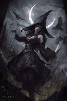 Witch Under Cresent Moon by Vezonia Lithium dibujos vampiros Mega Dark Things Dark Fantasy Art, Fantasy Witch, Fantasy Artwork, Fantasy Kunst, Fantasy Girl, Dark Art, Halloween Imagem, Halloween Art, Halloween Drawings