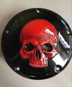 Custom built Megadeth skull with Scarlet Red Harley-Davidson derby cover can do any year, model or style of design. These take three to four weeks to build Harley Bagger, Harley Davidson Trike, Harley Davidson Road Glide, Custom Baggers, Custom Harleys, Custom Airbrushing, Custom Cycles, Bobber, Scarlet