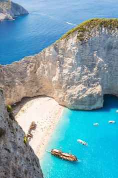Navagio Beach, GreeceLocated in a remote cove on Zakynthos in Greece's Ionian Islands, Navagio Beach gets its nickname—Shipwreck Beach—because of the ship that ran aground here in the 1980's.