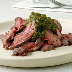 Pan Grilled Flank Steak with Chermoula