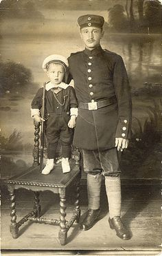 WWI German Soldier and Son - Happy Fathers Day to Loving Fathers Everywhere