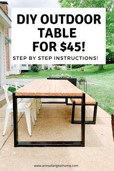 Diy Outdoor Table, Diy Dining Table, Diy Outdoor Furniture, Diy Patio, Backyard Patio, Furniture Projects, Outdoor Dining, Outdoor Fun, Concrete Outdoor Table
