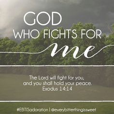 """God who fights for me: """"The Lord will fight for you, and you shall hold your peace."""" Exodus 14:14"""
