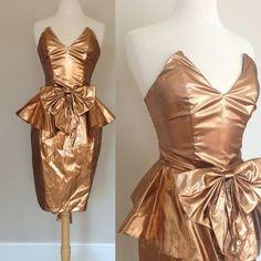 1980s Gold Prom Dress / Party Dress / Gold Party Dress / Bronze Prom Dress / Strapless Peplum Dress Size: S