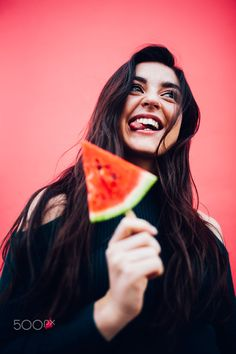 Caucasian happy women enjoying watermelon posicle standing in front of colorful red wall Photography Ideas At Home, Self Portrait Photography, Fruit Photography, Photography Poses Women, Photography Editing, Creative Instagram Photo Ideas, Creative Photoshoot Ideas, Watermelon Photo Shoots, Creative Self Portraits