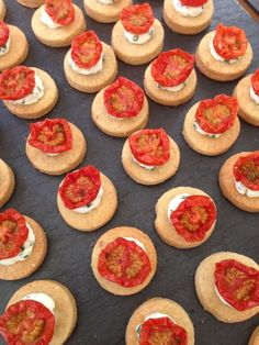 Slow Roasted Tomato with Goats Cheese on a Parmesan Biscuit  #canapes www.cliffordbrowncatering.co.uk
