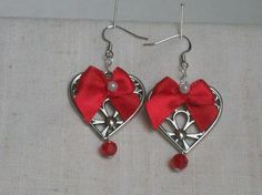 Hearts and Bows Earrings  Happy Valentine's Day For by JypsyJewels