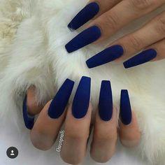 ✨ blue acrylic nails, blue matte nails, navy blue nails, blue c Dark Blue Nails, Blue Matte Nails, Blue Coffin Nails, Blue Acrylic Nails, Cobalt Blue Nails, Matte Nail Polish, Uñas Fashion, Hot Nails, Cuffin Nails