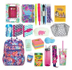 """School supplies"" by emmakathryn18 ❤ liked on Polyvore featuring interior, interiors, interior design, home, home decor, interior decorating, Vera Bradley, Lilly Pulitzer, Post-It and Eos"
