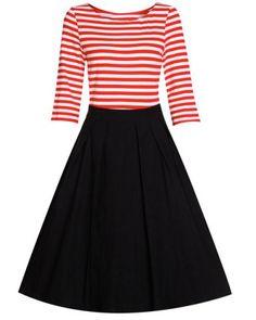 Sweet Scoop Neck Stripe Spliced Half Sleeve Dress For Women