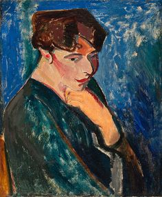 """huariqueje: """" Woman with Blue Background (Portrait of a Woman) - Alfred Henry Maurer 1907 American, Oil on canvas, 21 × 18 inches """" Fauvism, Blue Backgrounds, Art Museum, Oil On Canvas, American, Artwork, Matisse, Woman, Painters"""