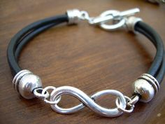 Black Leather Bracelet, Infinity Bracelet, Mens, Womens, Mens, Jewelry, Mens Bracelet, Womens Bracelet,