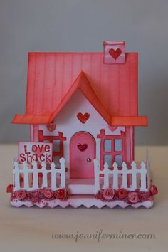 Love Shack created with Tim Holtz Village Dies Valentine Day Boxes, Valentine Day Crafts, Valentines, Cardboard Box Houses, Paper Houses, Decor Crafts, Home Crafts, Diy Crafts, Putz Houses