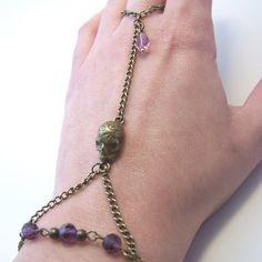 Slave bracelet Skull purple crystal beads hand harness €9