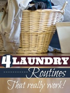 4 laundry routines that may work for you! Need some motivation or help to get that laundry folded and put away? Here are 4 laundry routines that work, from Mums Make Lists. Other tips you may. Deep Cleaning Checklist, House Cleaning Tips, Spring Cleaning, Cleaning Hacks, Laundry Hacks, Laundry Rooms, Cleaning Solutions, Laundry Solutions, Organization Hacks
