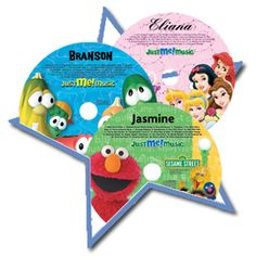 Personalized music CDs where Mickey, Elmo, and Disney princesses will sing and talk to your child using their name. www.personalizedbooksrus.com