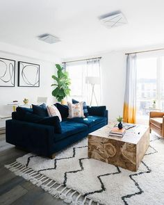 Bring some harmony to your space (literally)! Shop the Harmony Sofa with link in… Bring some harmony to your space (literally)! Shop the Harmony Sofa with link in bio. Share yours with west elm ✨ Living Room Goals, Boho Living Room, Living Room Sofa, Living Room Interior, Blue Velvet Sofa Living Room, Blue Sofas, Living Room Inspiration, Living Room Designs, Home Decor